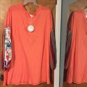 Umgee+ peach boho 3/4 sleeved babydoll dress
